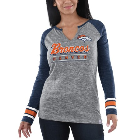 - Denver Broncos Majestic Women's Lead Play Long Sleeve V-Notch T-Shirt - Heathered Gray/Heathered Navy