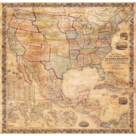 America Wall Map (1856 Mitchell Wall Map of the United States and North America Poster Print (10 x)