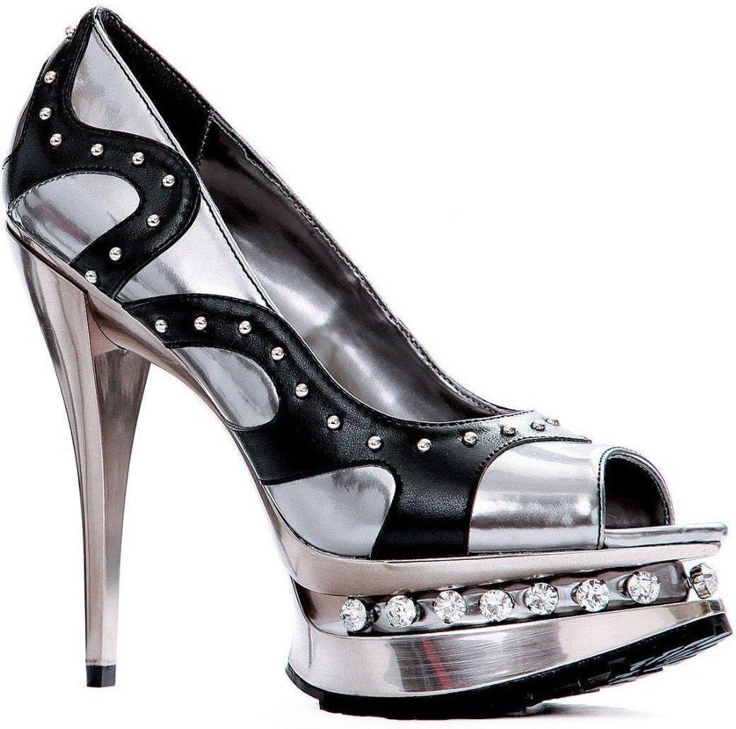Ellie Shoes E-527-Leelo 5 Heel Sandal with chrome and rhinestones Pewter / 9