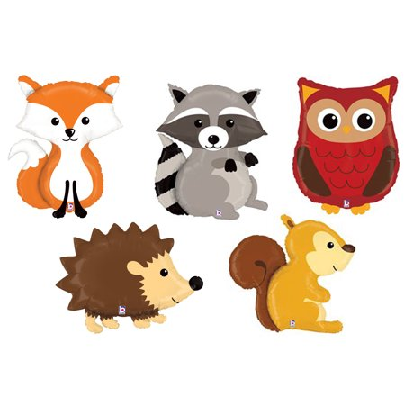 Set of 5 XL Woodland Animal Foil Mylar Balloons Forest Friends Lovable Critters (Balloon Animal Instructions)