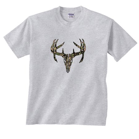 About Hunting T-shirt - Camouflage Deer Skull Camo 12 Point Hunting T-Shirt Clearance