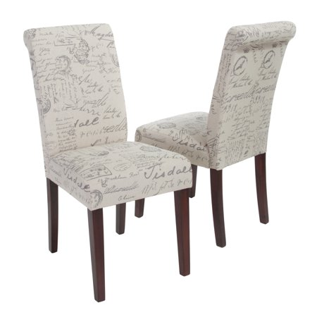 French Script Linen Dining Chair Set Of 2 Beige Printed