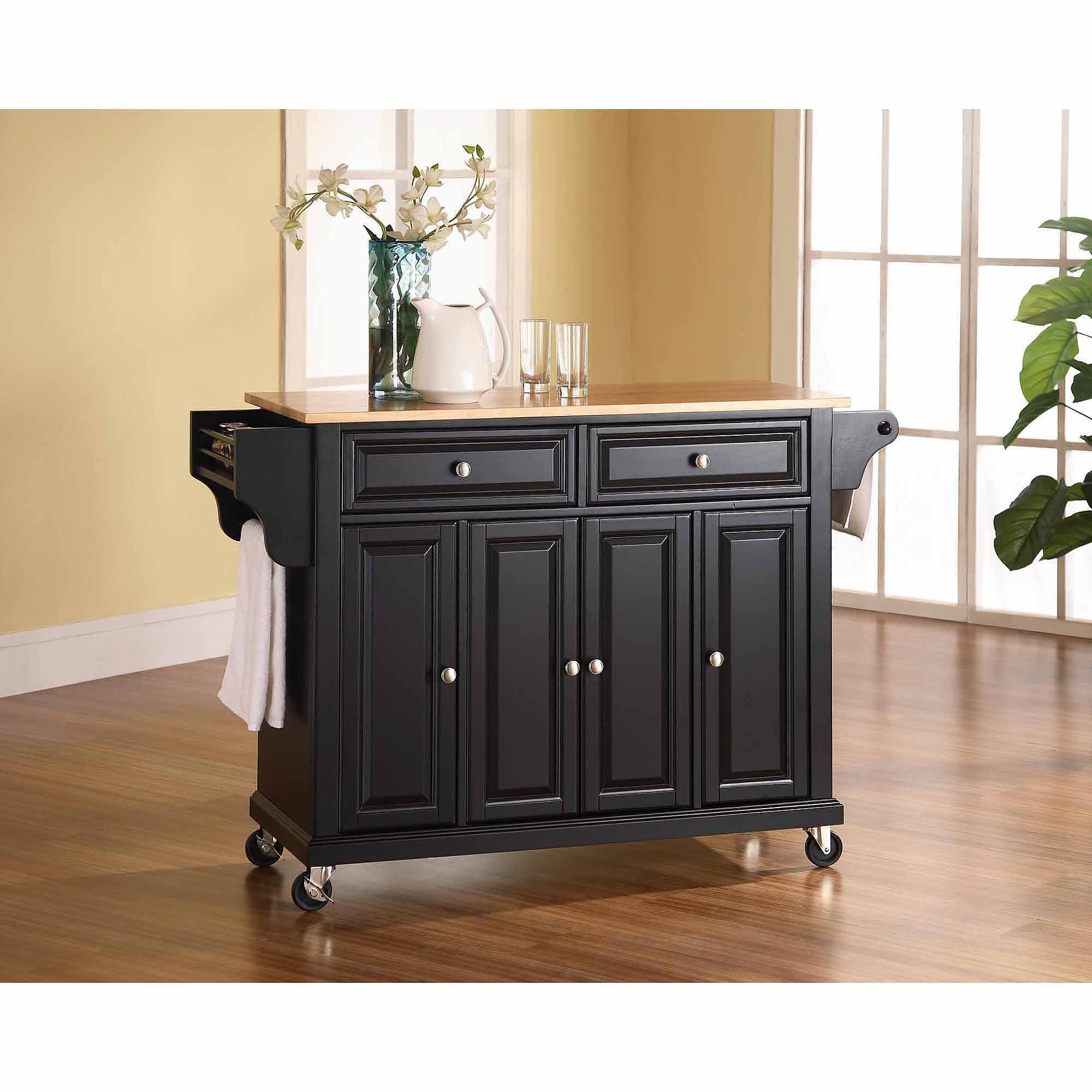 Crosley Furniture Natural Wood Top Kitchen Cart