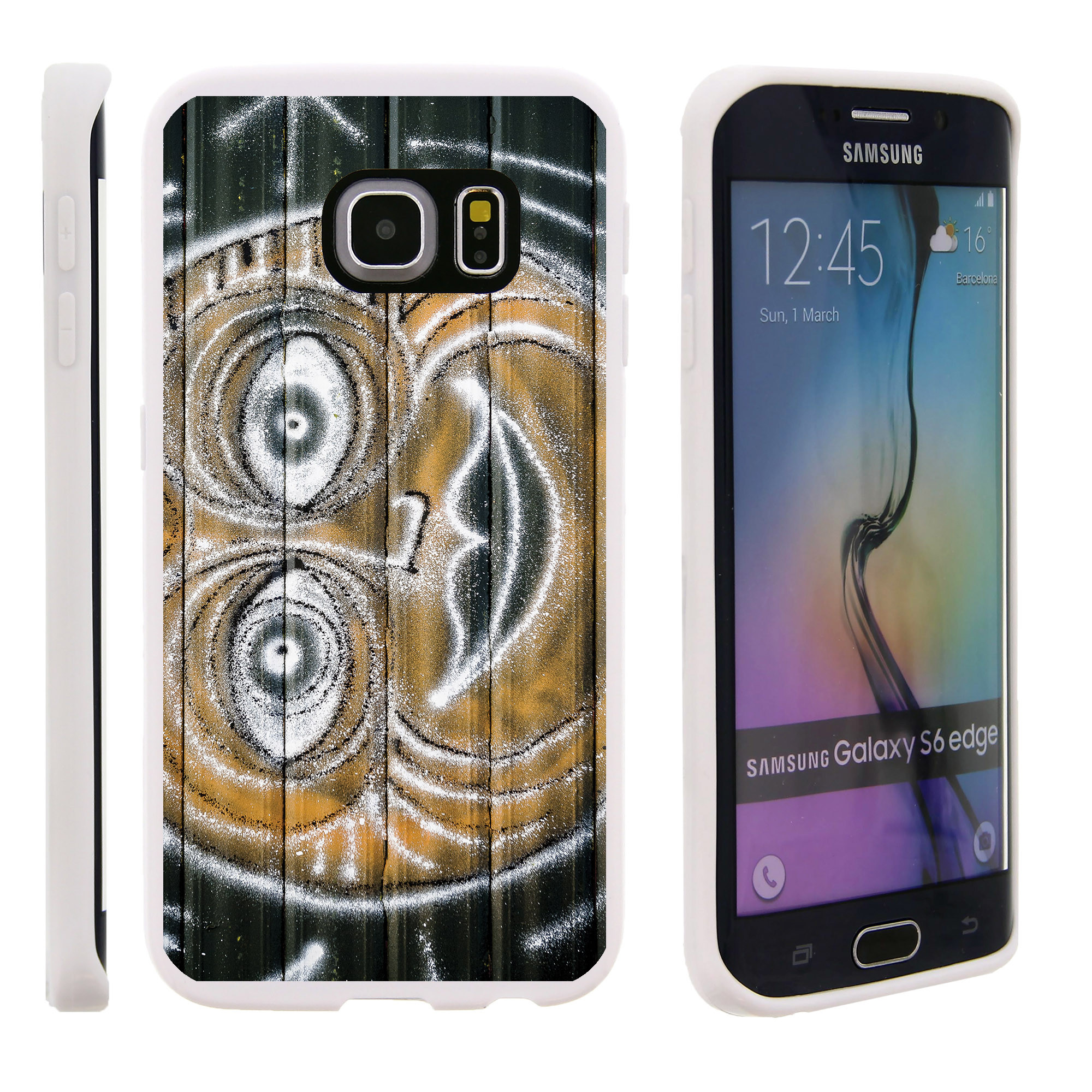 Samsung Galaxy S6 Edge G925, Flexible Case [FLEX FORCE] Slim Durable TPU Sleek Bumper with Unique Designs - Sun Drawing