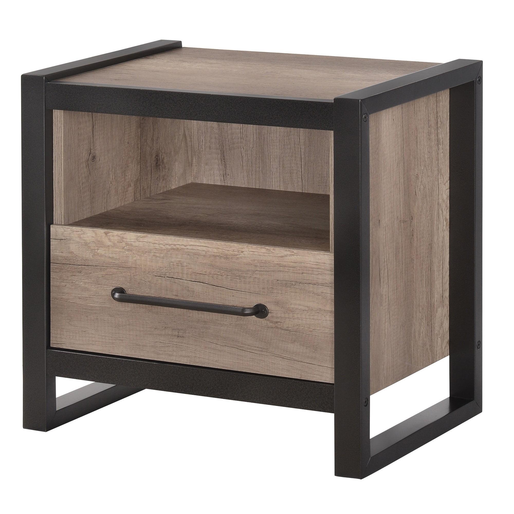 Wood & Metal Nightstand, Natural Oak Brown & Black