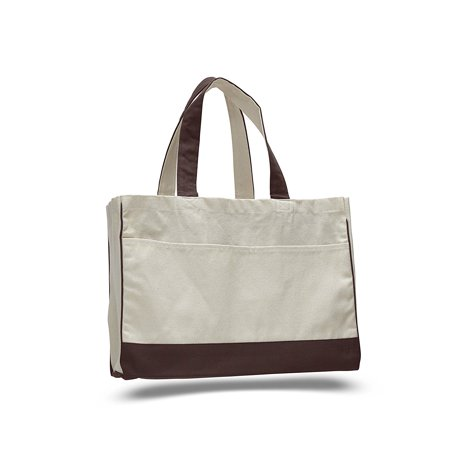"""17"""" Two Tone Cotton Canvas Shopping Tote Bag w/Large Front Pocket Pool Beach Travel Tote Bag Eco-Friendly"""