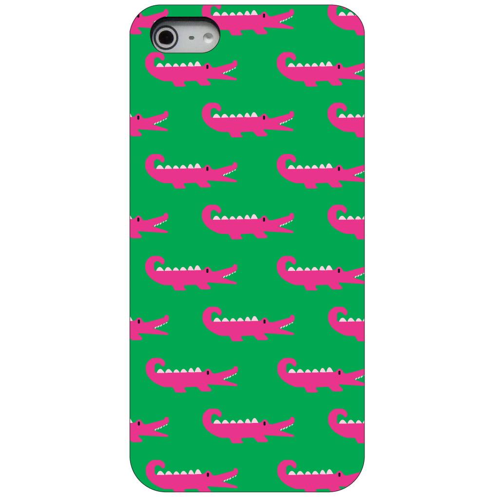 CUSTOM Black Hard Plastic Snap-On Case for Apple iPhone 5 / 5S / SE - Green Pink Alligators