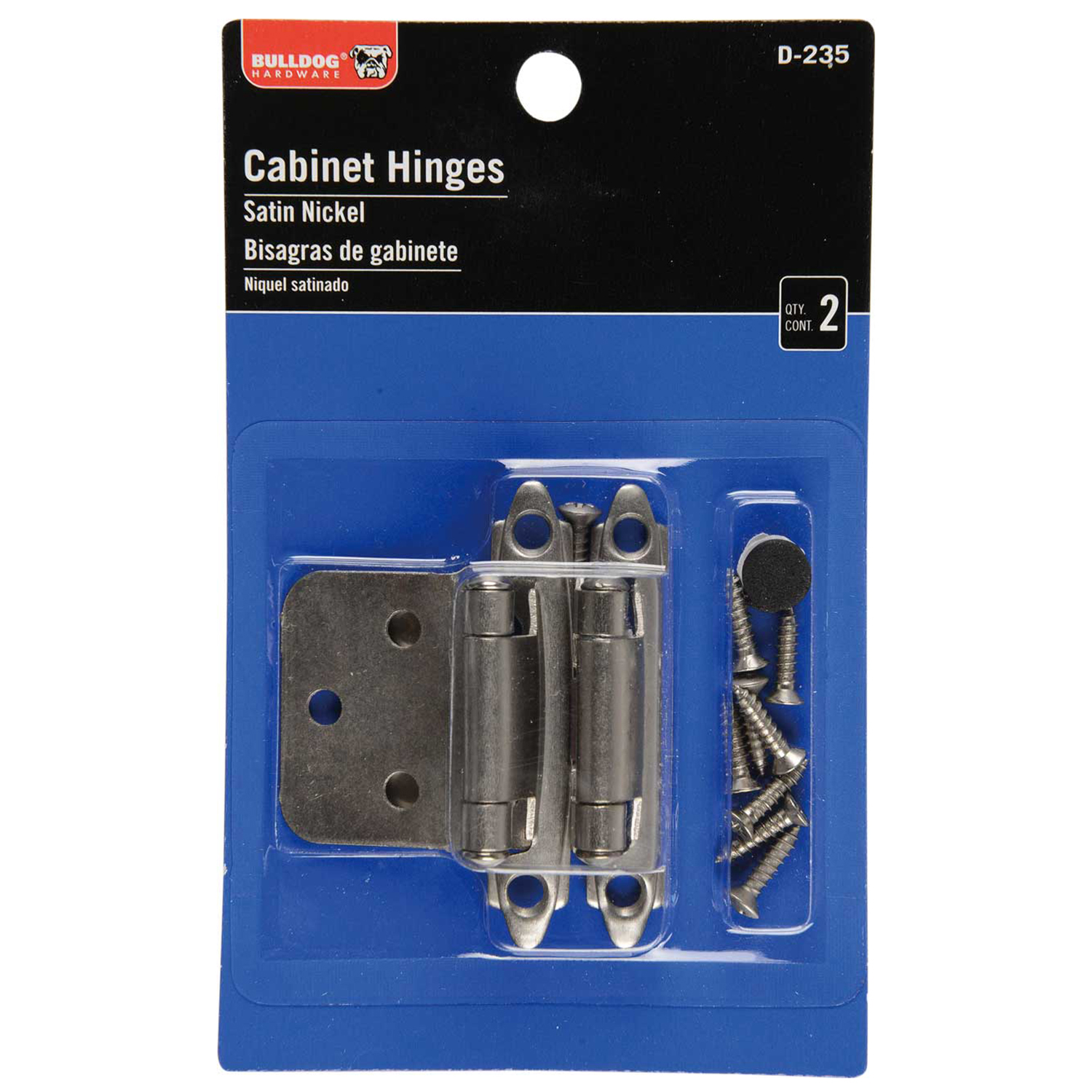 Bulldog Hardware Cabinet Hinges, Satin Nickel by Newell Rubbermaid