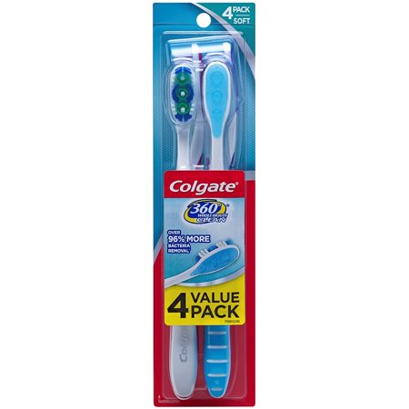 (2 pack) Colgate 360 Adult Toothbrush, Soft - 4 Count