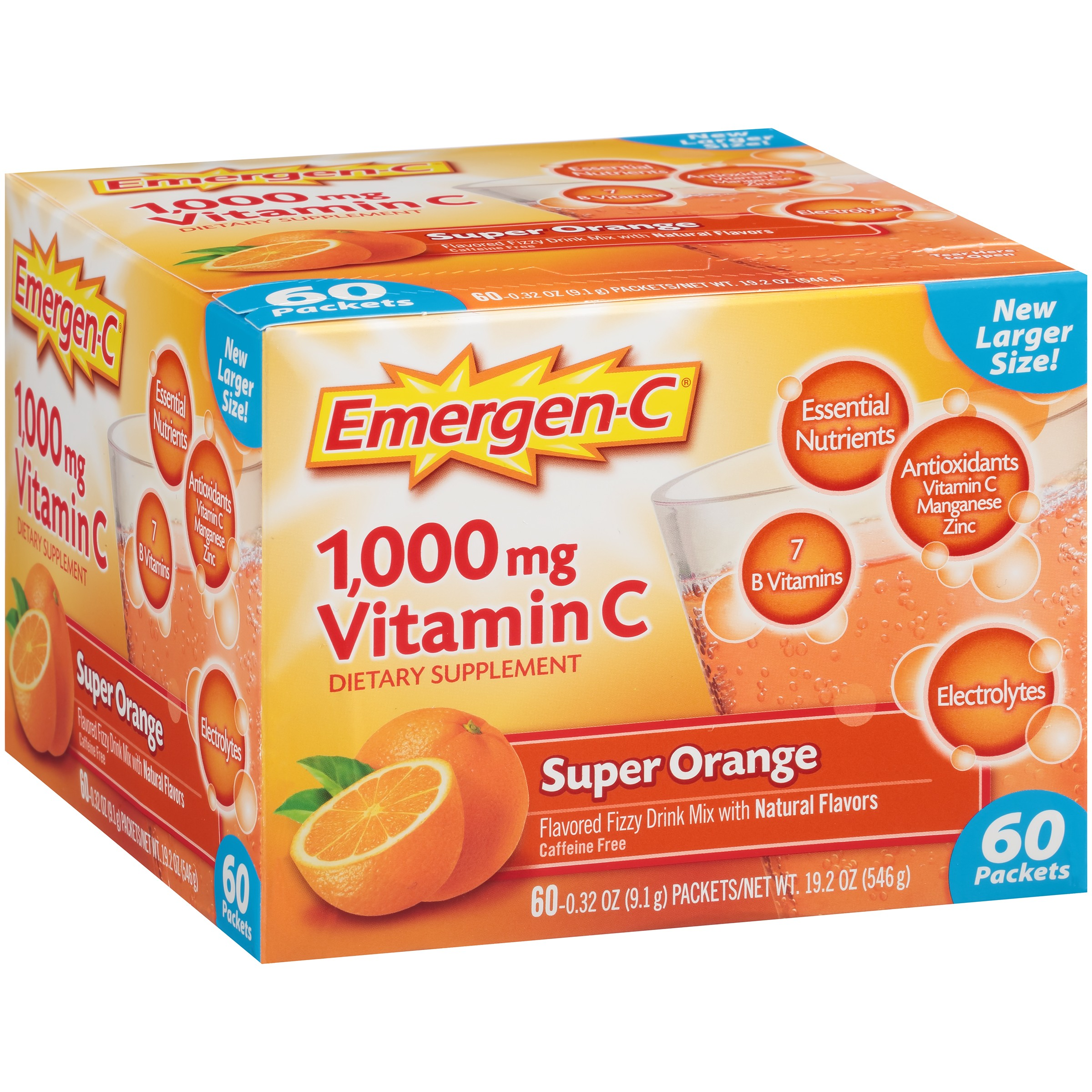 Emergen-C (60 Count, Super Orange Flavor) Dietary Supplement Fizzy Drink Mix With 1000mg Vitamin C, 0.32 Ounce Packets, Caffeine Free