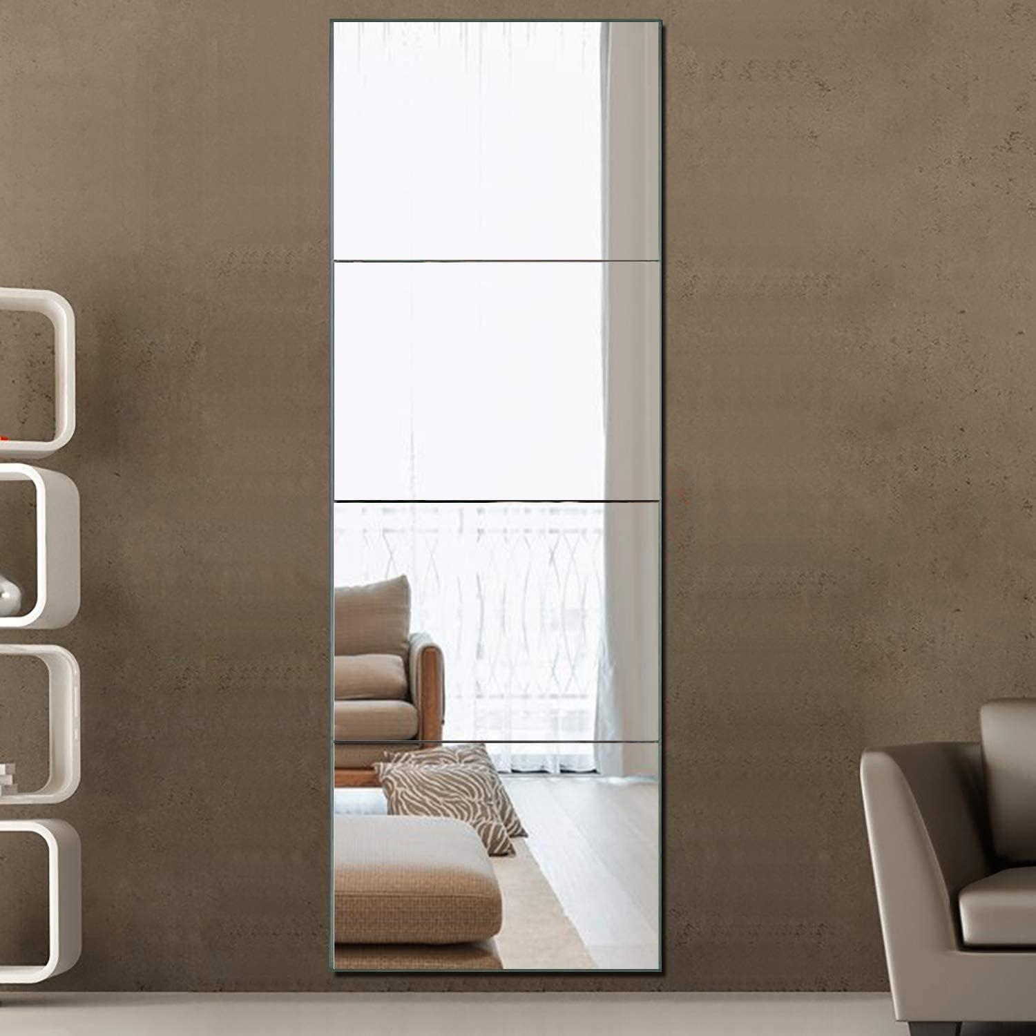 Neutype Frameless Full Length Mirror Wall Mirror Tiles Set Of 4 Large Size Rectangular Glass Flat Decoration Mirrors For Bathroom Living Room Or Bedroom 12 X 16 4 Piece Set Walmart Com