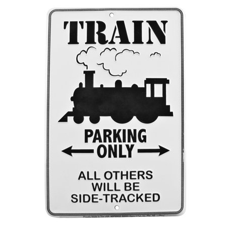 Train Parking Only Embossed Tin Sign Home/Office/Model Railroad Room Wall Decor