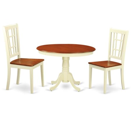 Wood Seat Dining Set 1 Round Small Table 2 Chairs With Ermilk Cherry 42 In 3 Piece