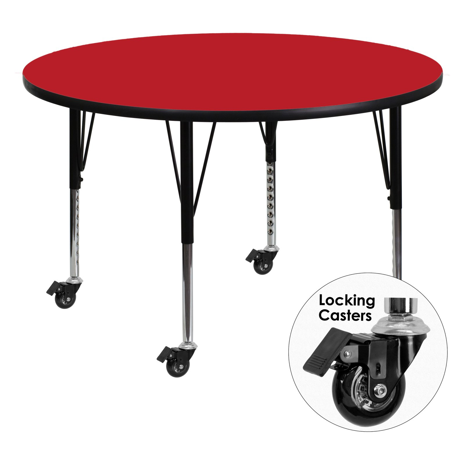 Flash Furniture Mobile 42'' Round Activity Table with 1.25'' Thick High Pressure Red Laminate Top and Height Adjustable Preschool Legs