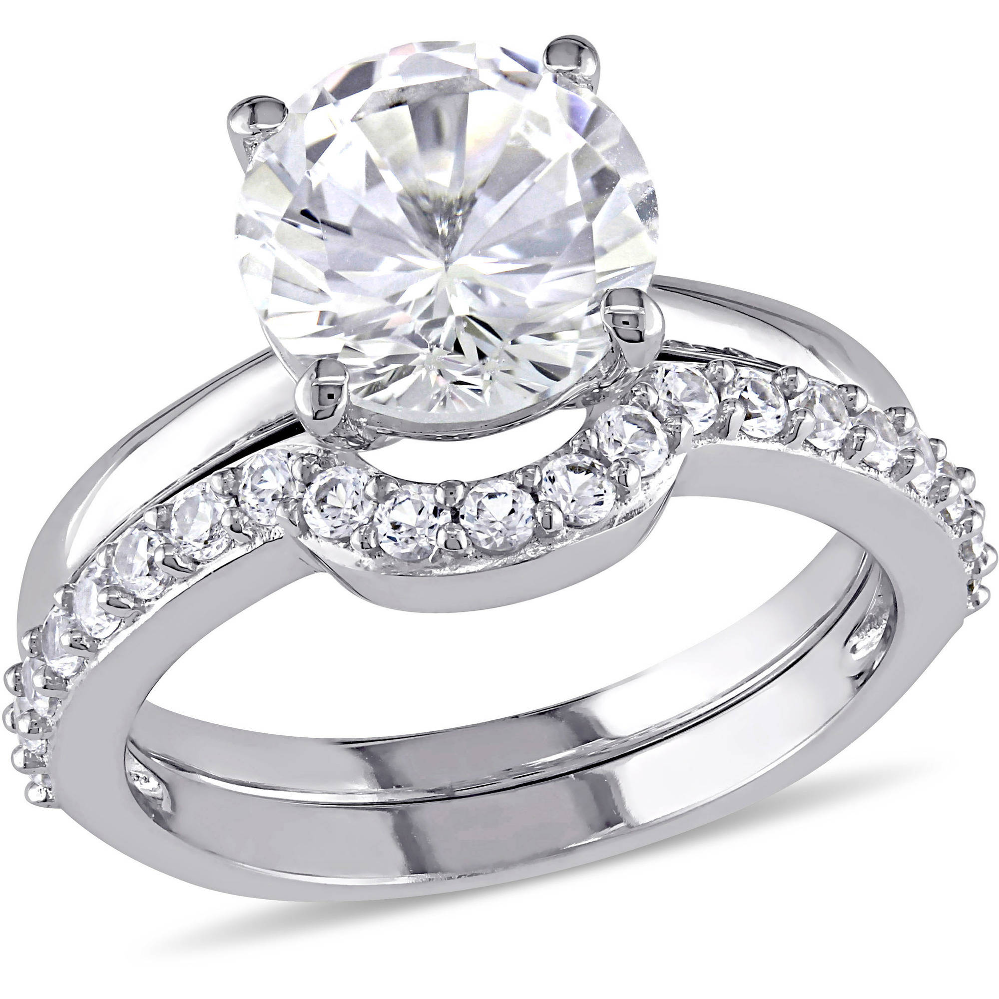 Miabella 2-4 5 Carat T.G.W. Created White Sapphire 10kt White Gold Bridal Set by Miabella