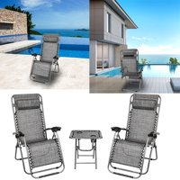 Reactionnx 2Pcs Adjustable Zero Gravity Lounge Chair Recliners for Patio, Pool w/ Cup Holder Trays