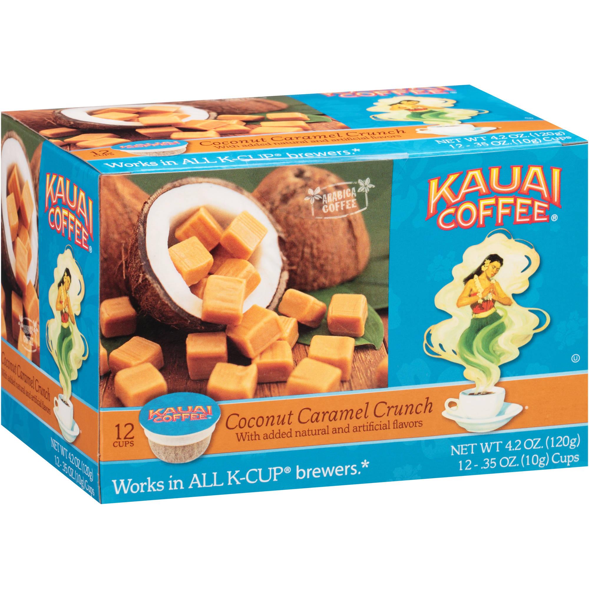 Kauai Coffee Coconut Caramel Crunch Coffee Single Serve Cups, .35 oz, 12 count