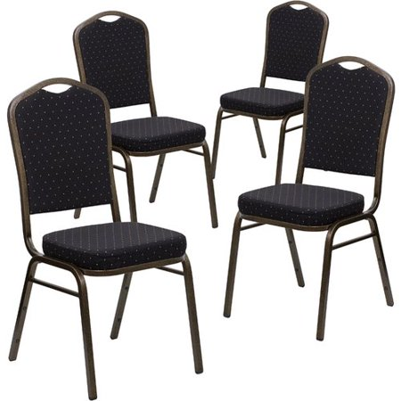 Flash Furniture 4pk HERCULES Series Crown Back Stacking Banquet Chair with 2.5'' Thick Seat -Frame, Multiple