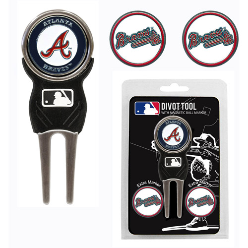 Team Golf MLB Atlanta Braves Divot Tool Pack With 3 Golf Ball Markers