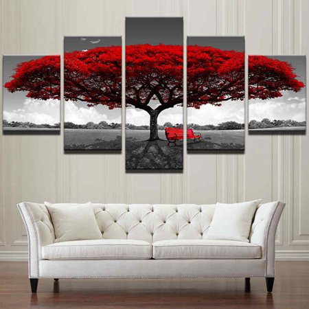 - 5 Panels Big Size Home Decor Creative Canvas Print Pictures Modern Red Tree Scenery Bench Oil Painting Wall Art Unframed