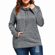 Akoyovwerve Plus Size Women Long Sleeve Loose Hoodie Sweatshirt Jumper Warm Sweater Pullover Tops with Pocket,Gray