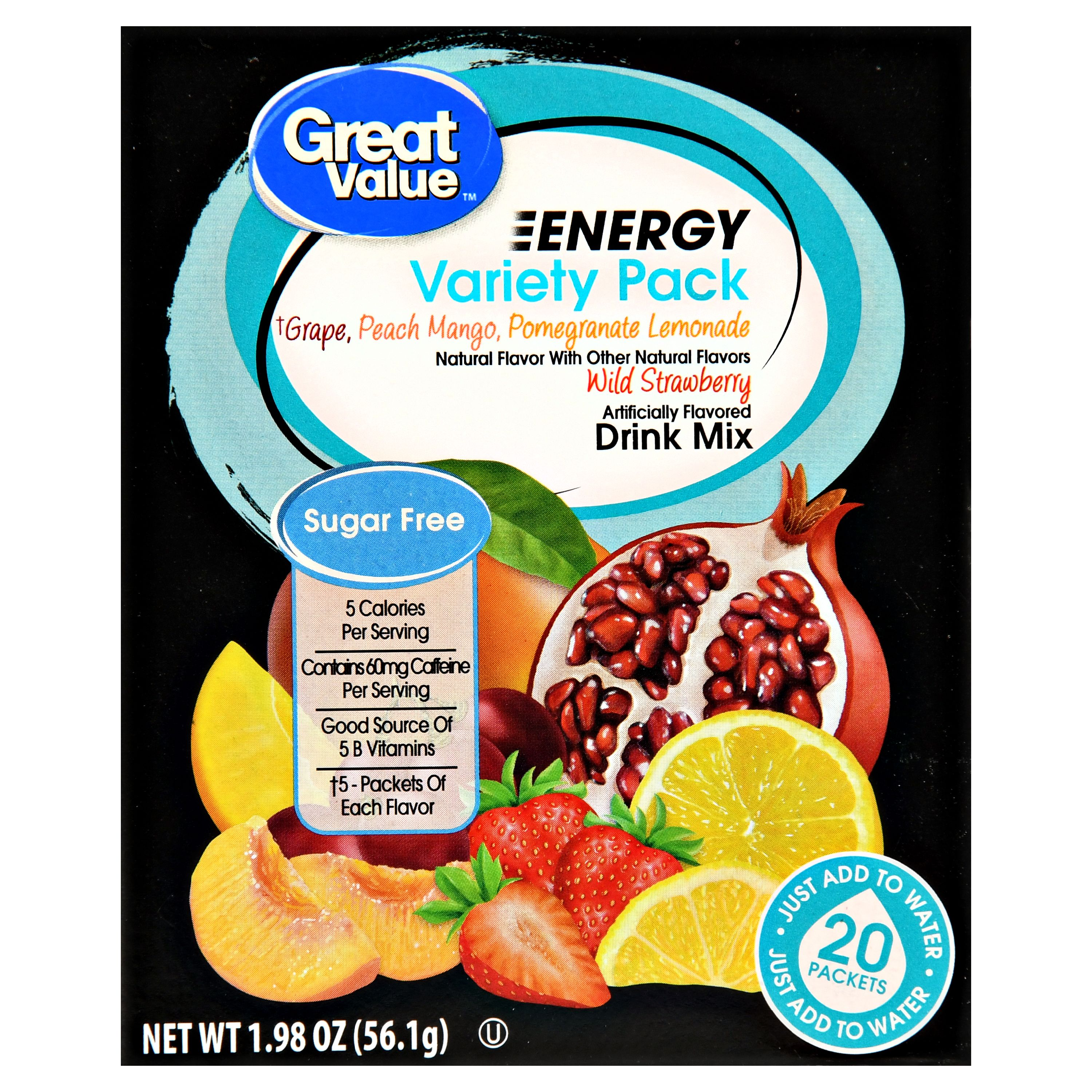 Great Value Energy Drink Mix, Variety Pack, Sugar Free, 20 Count