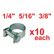 """New 30 Pcs 1/4"""" 5/16"""" 3/8"""" Fuel Injection Gas Line Hose Clamps Clip Pipe Clamp"""