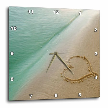 3dRose Heart Shape Symbolizing Love, Heart Carved in Sand on the Beach, Wall Clock, 15 by 15-inch - Heart In The Sand