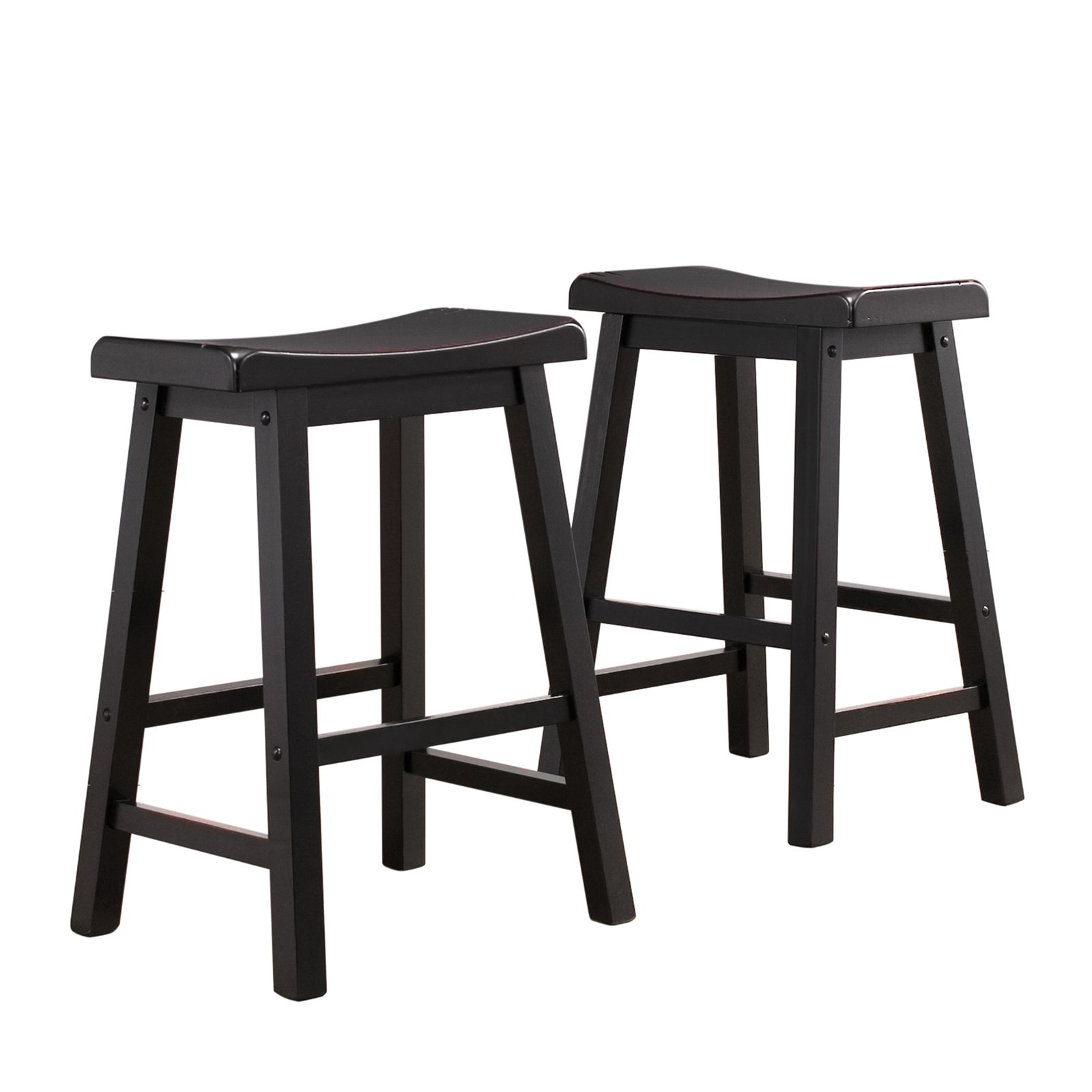 Ashby Counter Stools 24 Quot Set Of 2 Black Rubbed Walmart Com