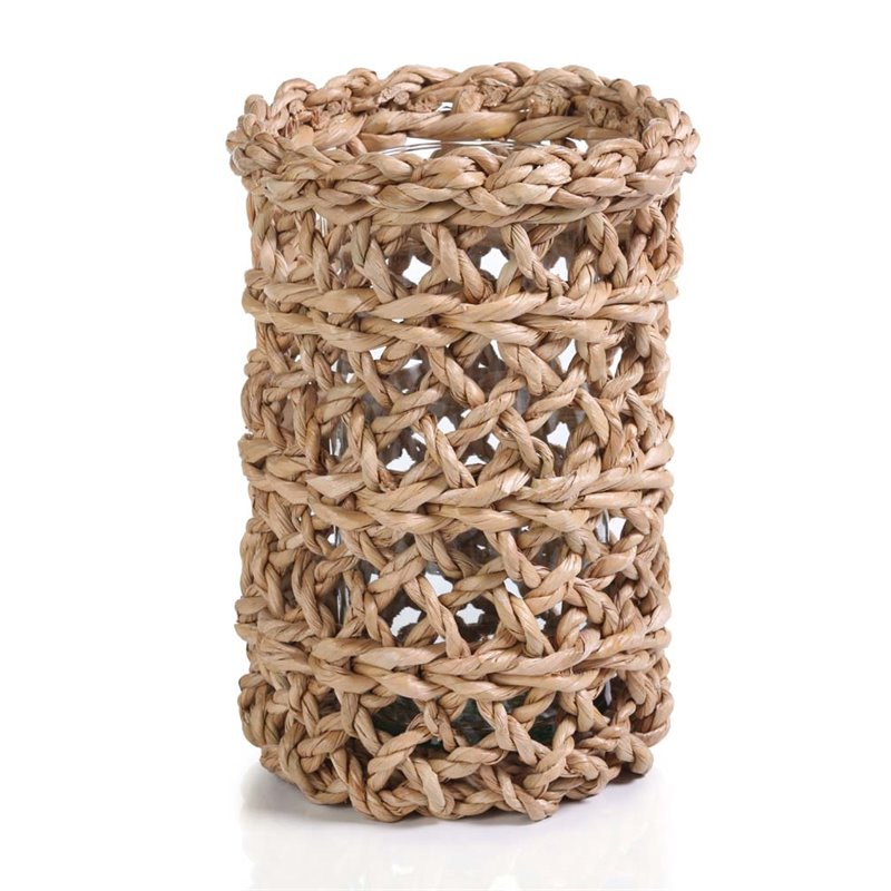 Zodax Large Open Weave Seagrass Candle Holder in Natural