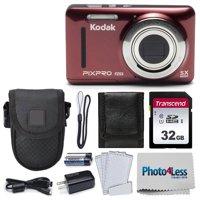 Kodak PIXPRO Friendly Zoom FZ43 16 MP Digital Camera (Red) + Great Accessories