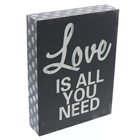 Barnyard Designs Love Is All You Need Wooden Box Wall Art Sign, Primitive Country Farmhouse Home Decor Sign With Sayings 8