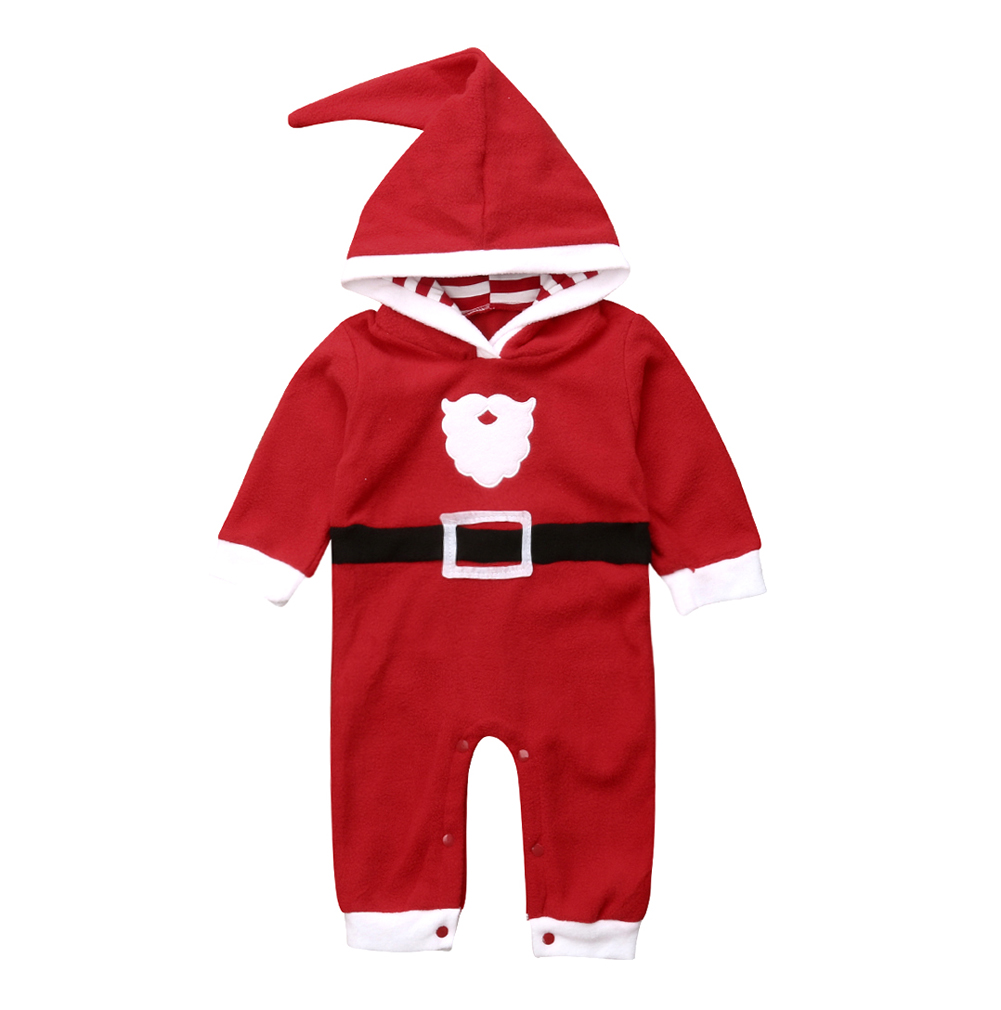 Santa Claus Baby Boys Girls Christmas Outfit Warm Fleece Hoodies Bodysuit Winter Clothes