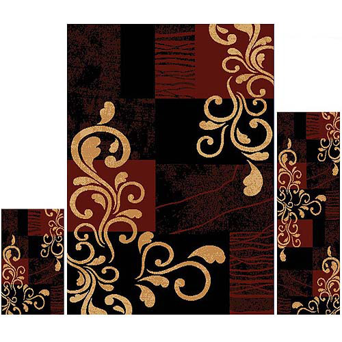 Home Dynamix Ariana 3-Piece Area Rug Set, Ebony/Red