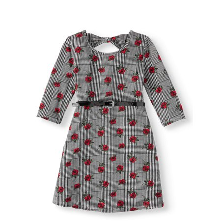 Plaid And Floral Dress - Plaid Floral Print Bow Back Dress (Little Girls & Big Girls)