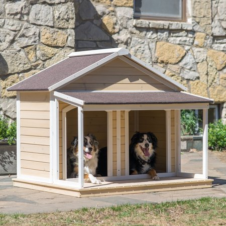 """Boomer & George Duplex Dog House, Medium, 51""""x43""""x43"""", Antique White Wash"""