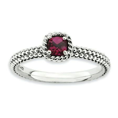 Roy Rose Jewelry Sterling Silver Stackable Expressions Checker Cut Created Ruby Antiqued Ring   Size 8