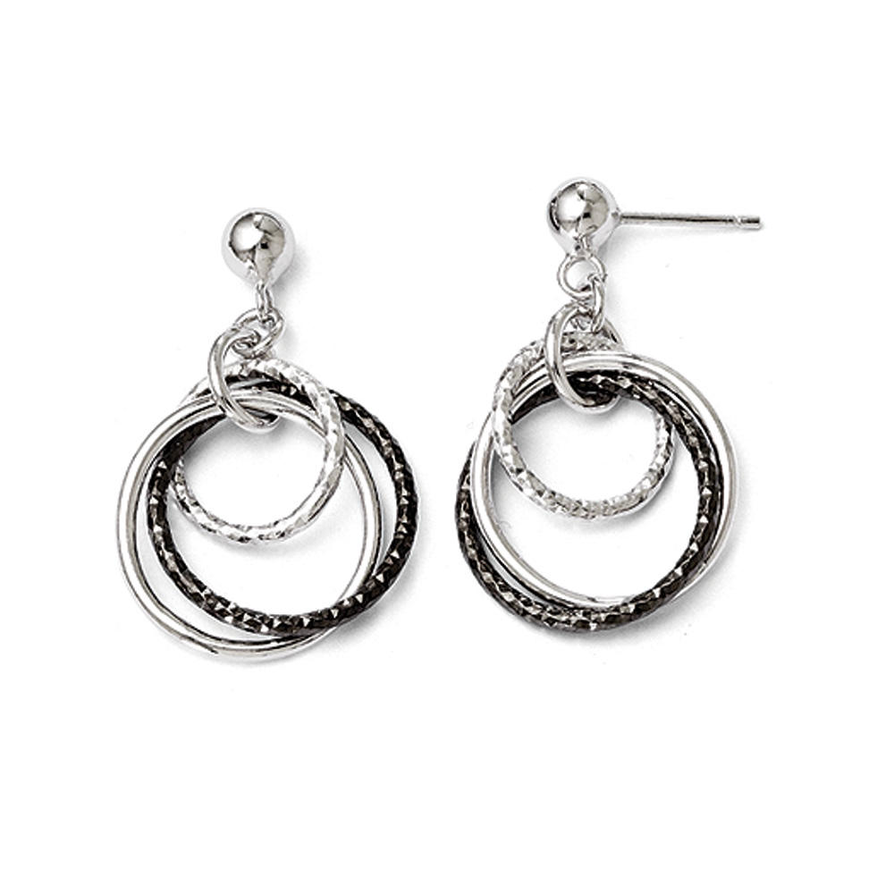 Sterling Silver Ruthenium-plated Post Dangle Earrings