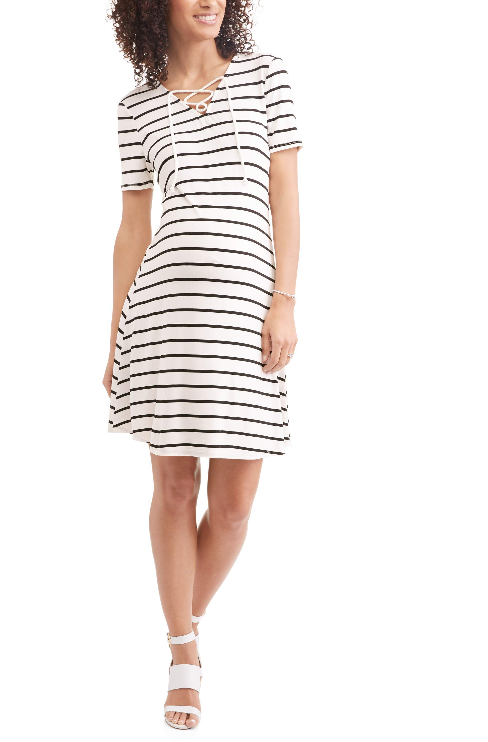 Maternity Lace Up Skater Dress by Generic