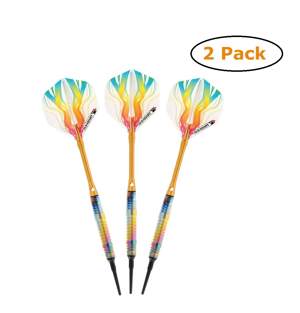 Elkadart Rainbow 90% Tungsten Soft Tip Darts Multi Color Titanium Coating 16 Grams - Pack of 2