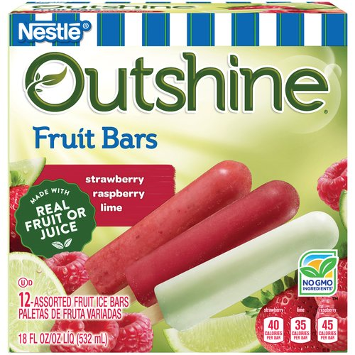 Outshine Fruit Bars, Strawberry, Raspberry, Lime - Variety Pack, 12 ct Box