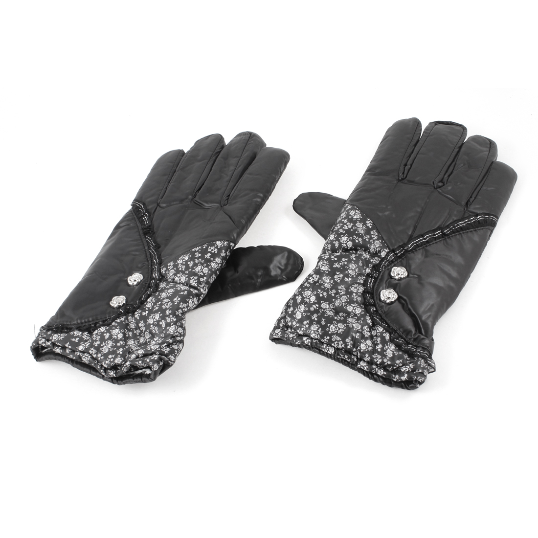 Cycling Windproof Fleece Lining Full Finger Warm Gloves Black Pair for Ladies