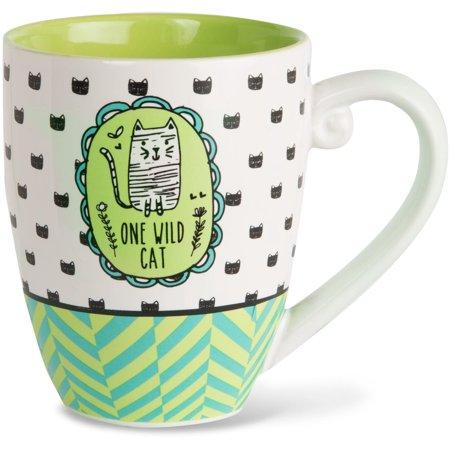 Extra Large Coffee Mugs - Pavilion - One Wild Cat High Quality Ceramic Extra Large Coffee Mug Tea Cup 20 oz