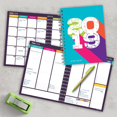 "2019 Retro Color Block July 2018 - June 2019 Academic Year 8""x6.5"" Medium Weekly Monthly Planner"