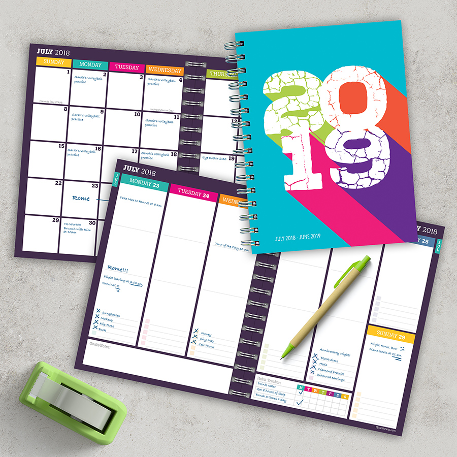 "2019 Retro Color Block July 2018 - June 2019 Academic Year 8""x6.5"" Medium Weekly Monthly Planner"