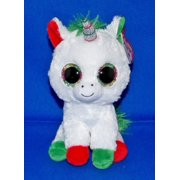 "TY Beanie Boos - Christmas Limited Edition Candy Cane Unicorn (Glitter Eyes) Small 6"" Plush"