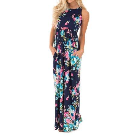 LMart Women Sleeveless Floral Print Long Maxi Dress Holiday Wear with Pocket