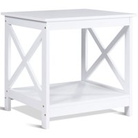 Gymax White Nightstand End Table Beside Coffee Table Home Furniture W/Storage Shelf