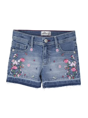 Jordache Girls 5-16 Floral Embroidered Fray Hem Denim Jean Shorts