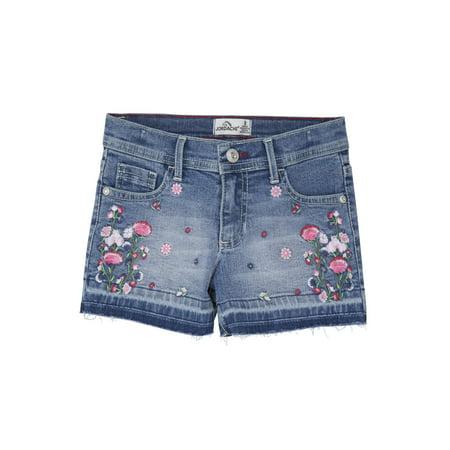 Jordache Girls Floral Embroidered Fray Hem Denim Jean Shorts, Sizes 5-16